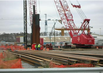 photo of ihnc floodwall construction